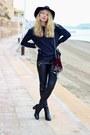 Black-h-m-boots-black-h-m-hat-crimson-zara-purse-black-zara-pants
