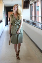 brown Louis Vuitton purse - olive green Zara dress - brown asos sandals