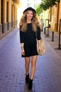 Black-forever-21-boots-black-zara-dress-black-h-m-hat