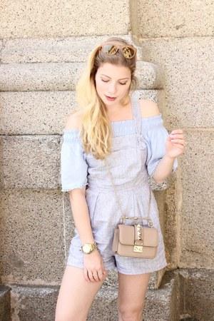 tan Valentino purse - light blue new look romper - sky blue new look top
