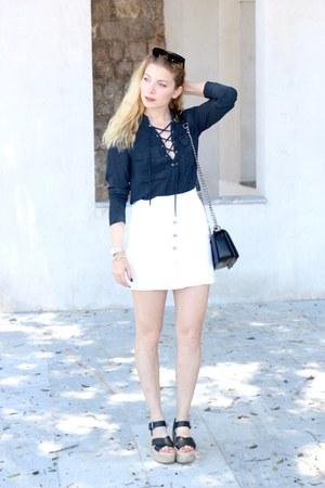 black Chanel purse - white Stradivarius skirt - navy H&M blouse