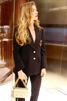 gold Gucci shoes - navy Gucci blazer - gold Gucci purse - navy Gucci pants