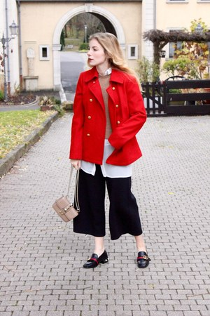 red Tommy Hilfiger coat - black Gucci shoes - camel Valentino purse