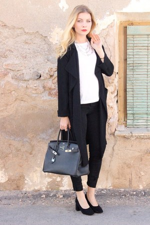 black Primark jacket - black Hermes purse - black H&M pants - black asos heels