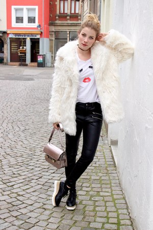 black Sheinside shoes - off white Compania Fantastica coat