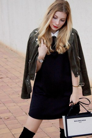 black Sante shoes boots - black Sheinside dress - dark green new look jacket