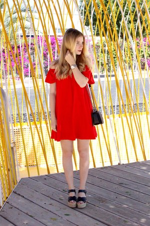 black Chanel purse - red asos dress - black Pull & Bear wedges