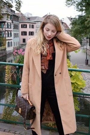 black Stella McCartney shoes - camel shein coat - brown Louis Vuitton purse