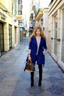 Dark-brown-dsw-boots-blue-costa-blanca-jacket-tan-forever-21-sweater