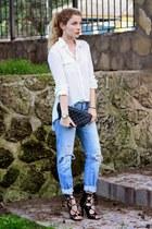 black Chanel purse - sky blue Levis jeans - ivory Primark blouse