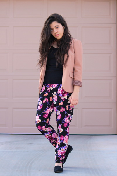 light pink Forever 21 blazer - light purple floral Forever21 pants