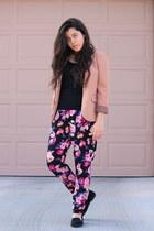 light pink Forever 21 blazer - light purple floral Forever21 pants