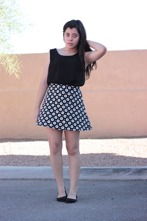 black Forever 21 shirt - black floral Forever 21 skirt - black cutout H&M flats