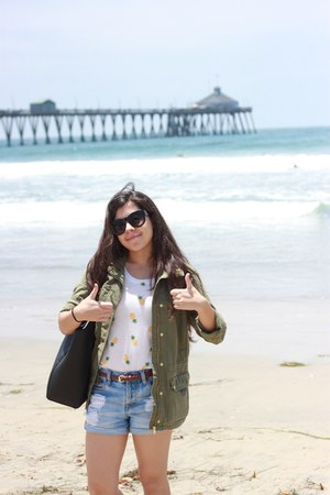 yellow Forever 21 shirt - dark green H&M jacket - black H&M bag