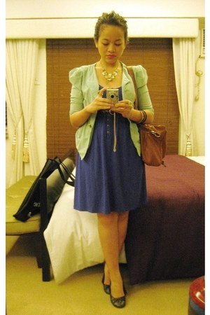 aquamarine thrifted blazer - blue Regatta dress - tawny ensembles bag