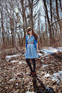 Tawny-thrifted-belt-navy-checkered-vintage-dress-charcoal-gray-tights