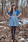 Navy-checkered-vintage-dress-charcoal-gray-tights-teal-forever-21-sunglasses