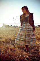 ivory tribal pattern vintage skirt - tawny oxford modcloth boots