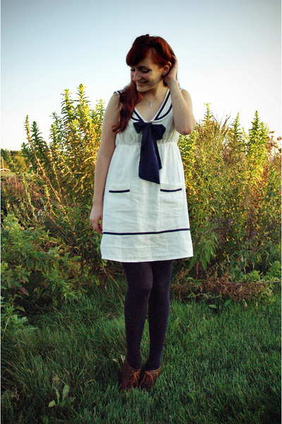 ivory nautical Forever 21 dress - dark brown oxford Charlotte Russe shoes