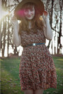 Crimson-floral-charlotte-russe-dress-dark-brown-cutout-forever-21-shoes