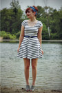 White-striped-h-m-dress-turquoise-blue-modcloth-scarf-navy-thrifted-belt