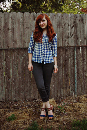 navy gingham Ruche top - dark gray Charlotte Russe jeans