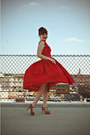 Silver-bee-modcloth-earrings-red-vintage-dress