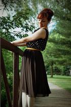 black polka dot vintage dress - mustard oxford Forever 21 shoes