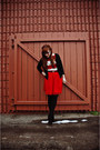 Red-francescas-collections-skirt-white-striped-forever-21-dress