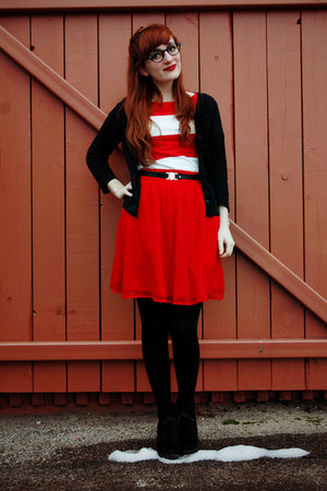 red Francescas Collections skirt - white striped Forever 21 dress