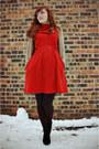 Burnt-orange-modcloth-dress-black-diamond-pattern-walgreens-tights