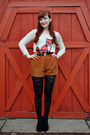 Cream-sequin-fox-cooperative-sweater-black-rose-pattern-tights