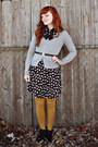 Black-charlotte-russe-dress-mustard-mossimo-tights-silver-h-m-cardigan