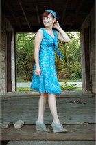 turquoise blue floral vintage dress - teal chambray modcloth scarf