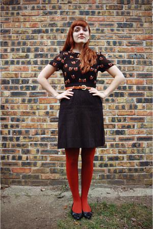black thrifted shoes - black fox print sugarhill boutique dress