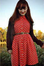 bronze vintage belt - coral polka dot Forever 21 dress