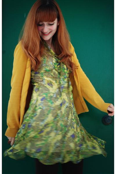 chartreuse floral print BB Dakota dress