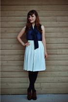 navy Gap tights - ivory vintage skirt - navy sheer Forever 21 top