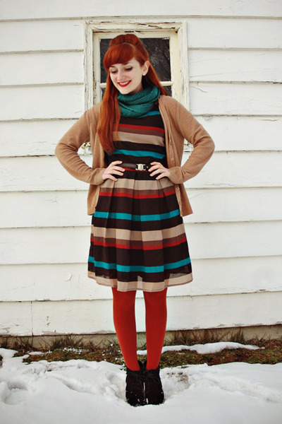 black striped modcloth dress - brick red Mossimo tights