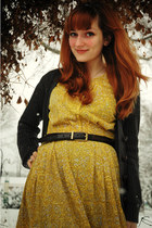mustard vintage dress - dark brown Younkers boots - gray thrifted tights