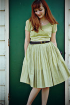 lime green vintage dress - brown Forever 21 shoes - dark brown thrifted belt