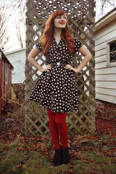 black tree print Charlotte Russe dress - ruby red Forever 21 tights