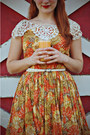 Carrot-orange-vintage-dress-white-charlotte-russe-shoes