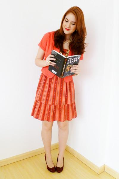 orange striped Forever21 dress - orange blazer - ruby red liz claiborne purse