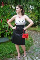 black dress - black shoes - red purse - red swarovski necklace