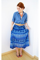 blue denim shirt Nordstrom shirt - blue Divided skirt - camel Forever 21 belt
