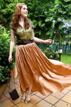 light orange asos skirt - dark brown belt