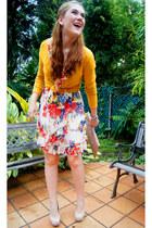 mustard long sleeve merona cardigan - white floral dress Tenplo dress