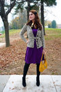 Purple-via-vai-dress-brown-fantazia-cardigan-yellow-nine-west-purse-black-