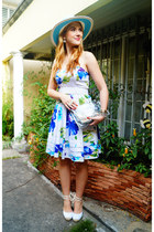 white floral dress dress - silver clear purse Forever 21 bag - white asos wedges